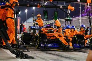 Lando Norris, McLaren MCL35, leaves his pit box after a stop