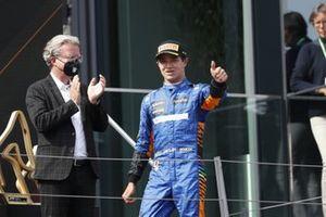 Lando Norris, McLaren, 3rd position, arrives on the podium