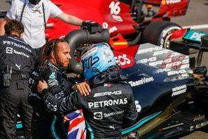 Lewis Hamilton, Mercedes, 1st position, is congratulated by Valtteri Bottas, Mercedes, 3rd position, in Parc Ferme