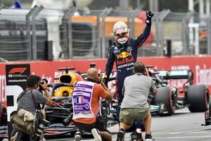 Pole man Max Verstappen, Red Bull Racing RB16B, celebrates on arrival in Parc Ferme