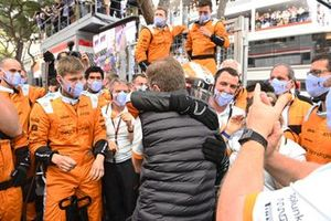 Lando Norris, McLaren, 3rd position, Andreas Seidl, Team Principal, McLaren, and the McLaren team celebrate in Parc Ferme