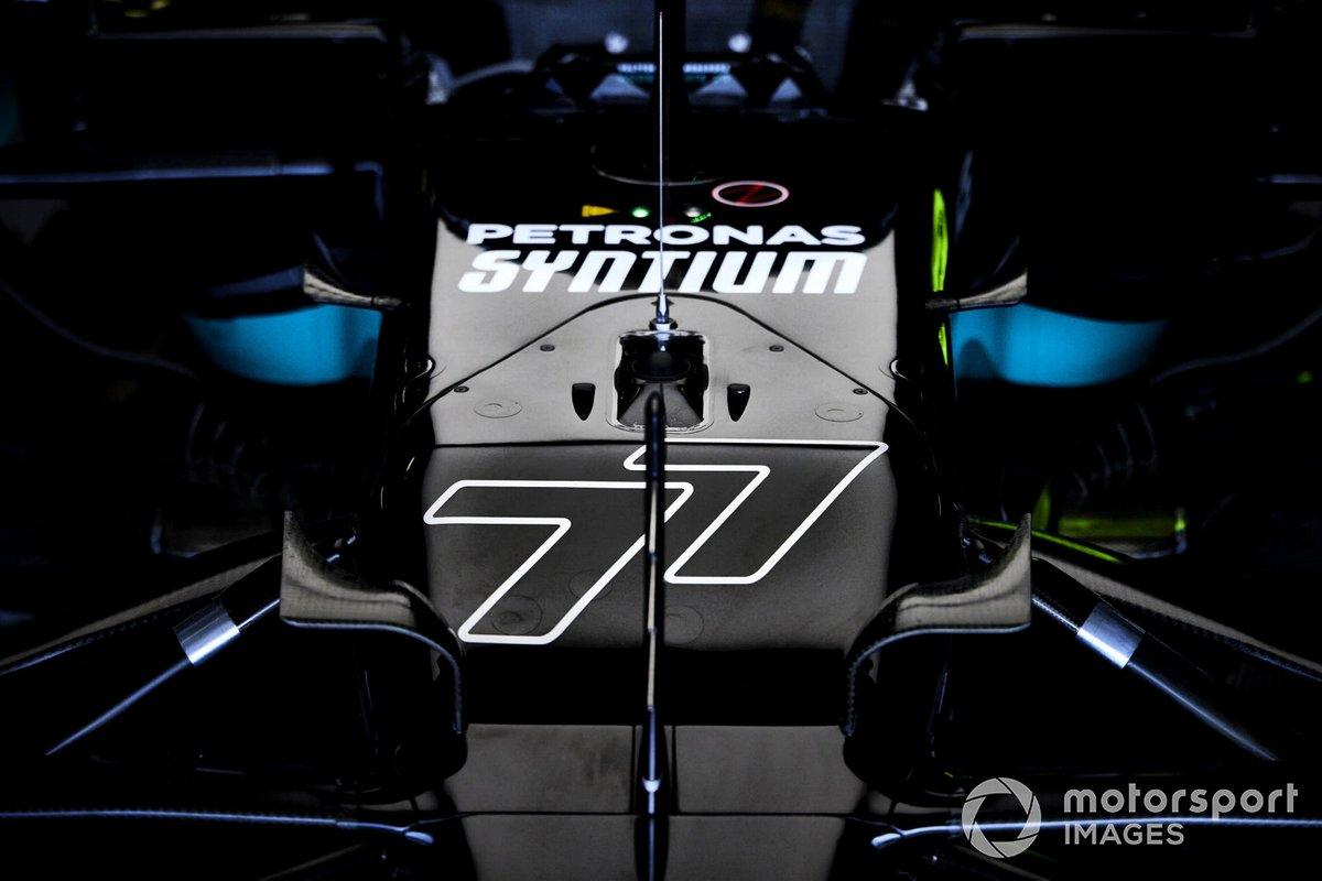 El número de carrera en el monoplaza de Valtteri Bottas, Mercedes W12