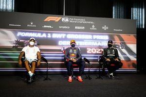 Lewis Hamilton, Mercedes, Max Verstappen, Red Bull Racing, en Valtteri Bottas, Mercedes