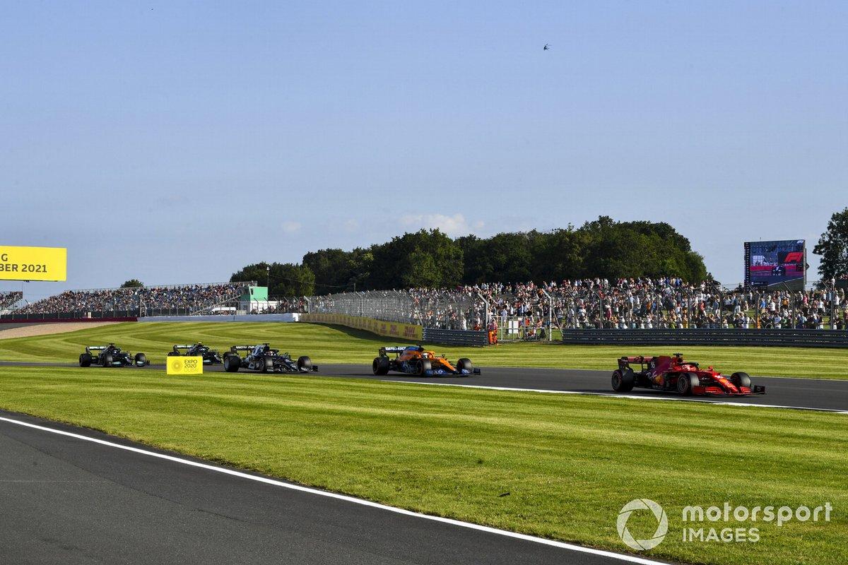 Charles Leclerc, Ferrari SF21, Daniel Ricciardo, McLaren MCL35M, Yuki Tsunoda, AlphaTauri AT02, Valtteri Bottas, Mercedes W12, Lewis Hamilton, Mercedes W12