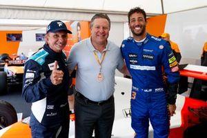 Emerson Fittipaldi, Zak Brown and Daniel Ricciardo, McLaren