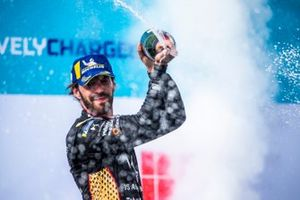 Jean-Eric Vergne, DS Techeetah, second position, sprays Champagne on the podium