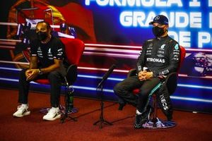 Lewis Hamilton, Mercedes, and pole man Valtteri Bottas, Mercedes, in the post Qualifying Press Conference