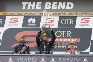 Podium: Race winner Cameron Waters, Tickford Racing Ford, second place Shane van Gisbergen, Triple Eight Race Engineering Holden, third place Will Davison, Dick Johnson Racing Ford