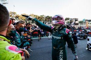 Sebastian Vettel, Aston Martin, 2nd position, celebrates on arrival in Parc Ferme
