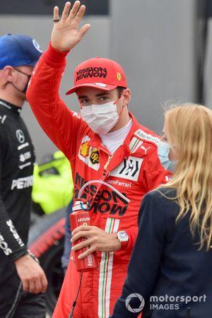 Pole man Charles Leclerc, Ferrari, in Parc Ferme after Qualifying
