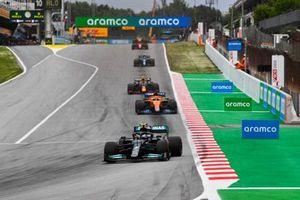 Valtteri Bottas, Mercedes W12, Daniel Ricciardo, McLaren MCL35M, and Sergio Perez, Red Bull Racing RB16B