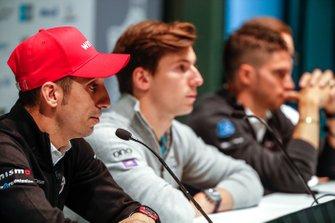 Sébastien Buemi, Nissan e.Dams, in the press conference with Alex Lynn, Panasonic Jaguar Racing, Edoardo Mortara, Venturi Formula E