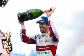 Lucas Di Grassi, Audi Sport ABT Schaeffler, celebrates with his champagne after winning the race
