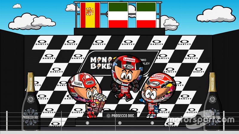 El podio de Italia de MotoGP 2019, por MiniBikers