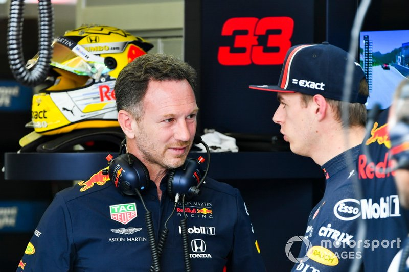 Christian Horner, Team Principal, Red Bull Racing, con Max Verstappen, Red Bull Racing