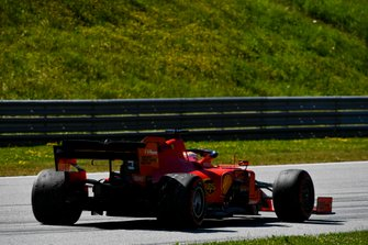 Sebastian Vettel, Ferrari SF90, heads back to the pits slowly after an off