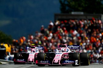 Sergio Perez, Racing Point RP19, leads Lance Stroll, Racing Point RP19