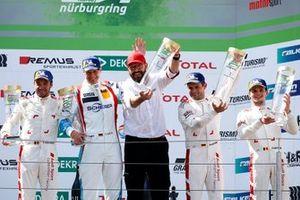 Podium: Race winner #4 Audi Sport Team Phoenix Audi R8 LMS: Pierre Kaffer, Frank Stippler, Frédéric Vervisch, Dries Vanthoor