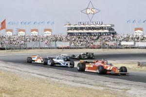 Gilles Villeneuve, Ferrari; Jacques Laffite, Ligier; John Watson, McLaren; Carlos Reutemann, Williams; Elio de Angelis, Lotus