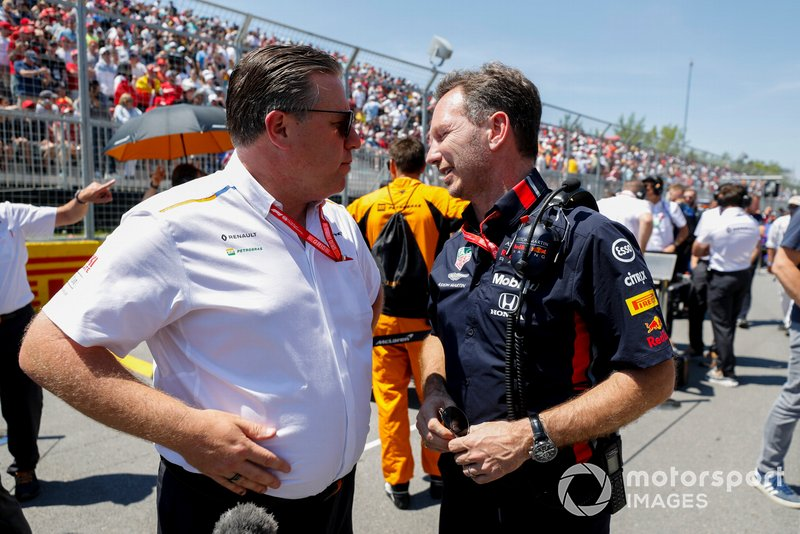 Zak Brown, Executive Director, McLaren and Christian Horner, Team Principal, Red Bull Racing on the grid