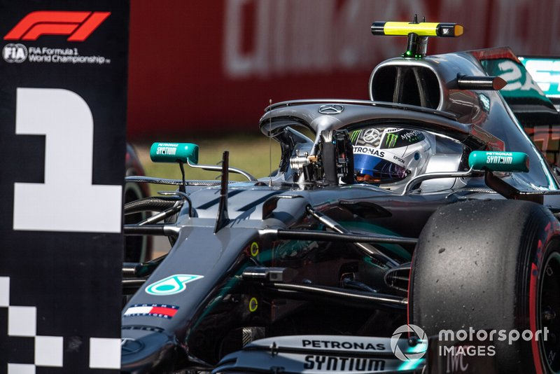 Valtteri Bottas, Mercedes AMG W10, parks up after Qualifying