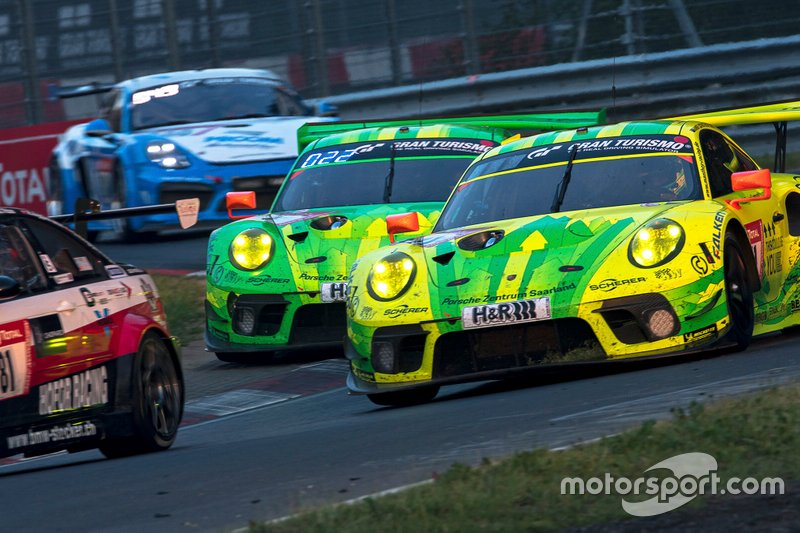 #911 Manthey-Racing Porsche 911 GT3 R: Earl Bamber, Michael Christensen, Kevin Estre, Laurens Vanthoor, #1 Manthey-Racing Porsche 911 GT3 R: Richard Lietz, Frederic Makowiecki, Patrick Pilet, Nick Tandy