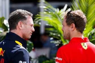 Christian Horner, Team Principal, Red Bull Racing and Sebastian Vettel, Ferrari
