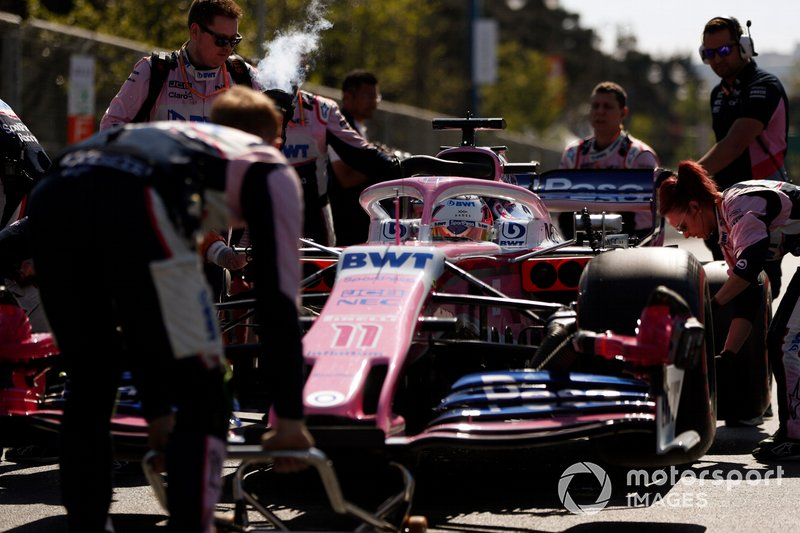 Sergio Perez, Racing Point RP19, arrives on the grid