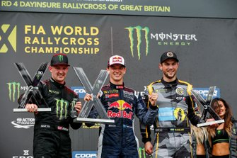 Podium: winner Timmy Hansen, Team Hansen, second place Andreas Bakkerud, RX Cartel, third place Anton Marklund, GC Kompetition
