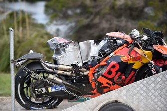 Pol Espargaro, Red Bull KTM Factory Racing's crashed KTM