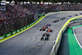 Lewis Hamilton, Mercedes AMG F1 W10, Max Verstappen, Red Bull Racing RB15, Sebastian Vettel, Ferrari SF90, Alexander Albon, Red Bull RB15 en Charles Leclerc, Ferrari SF90