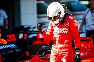 Pole man Sebastian Vettel, Ferrari, celebrates in Parc Ferme