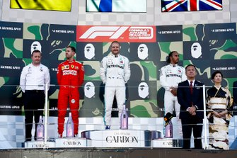 Podium: race winner Valtteri Bottas, Mercedes AMG F1, second place Sebastian Vettel, Ferrari, third place Lewis Hamilton, Mercedes AMG F1