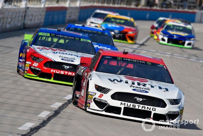 Brad Keselowski, Team Penske, Ford Mustang Wurth and Joey Logano, Team Penske, Ford Mustang AAA Insurance