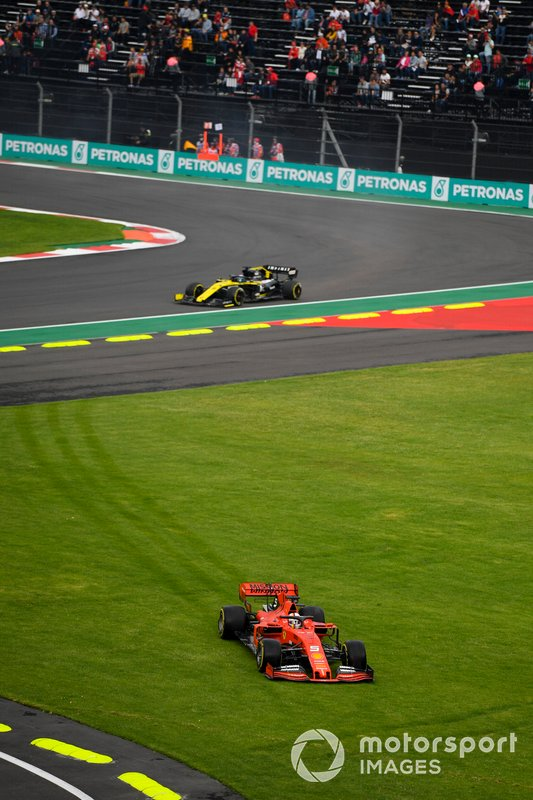 Sebastian Vettel, Ferrari SF90 runs over the grass