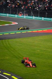 Sebastian Vettel, Ferrari SF90 runs over the grass