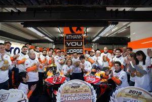 Marc Marquez, Repsol Honda Team, Jorge Lorenzo, Repsol Honda Team celebrate with the team