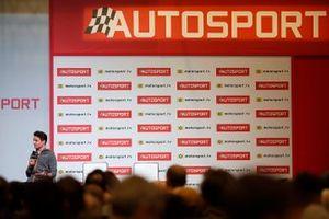 Lando Norris, McLaren is interviewed on the Autosport stage