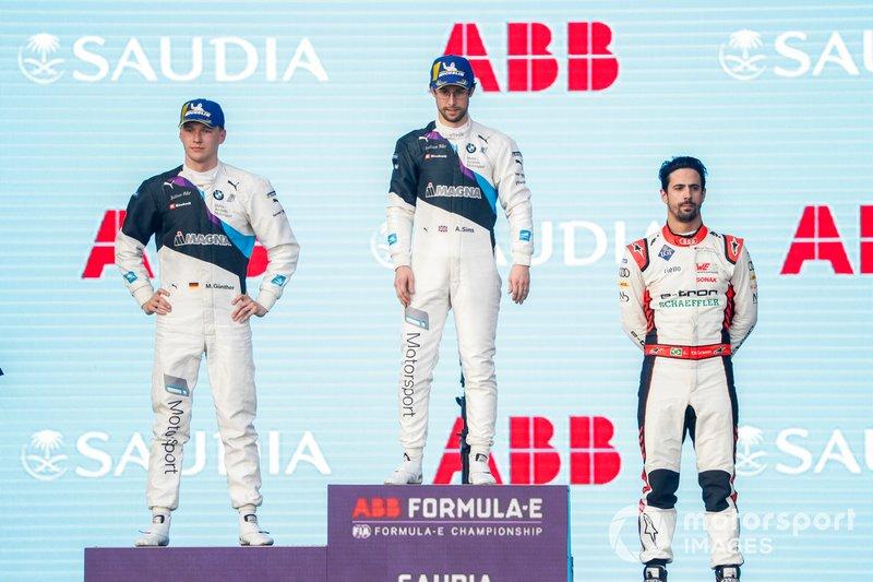 Alexander Sims, BMW I Andretti Motorsports, 1° classificato, Maximilian Gunther, BMW I Andretti Motorsports, BMW iFE.20, 2° classificato, Lucas Di Grassi, Audi Sport ABT Schaeffler, Audi e-tron FE06, 3° classificato