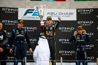 Luca Ghiotto, UNI Virtuosi Racing, celebrates victory on the podium with Nicholas Latifi, Dams and Sergio Sette Camara, Dams