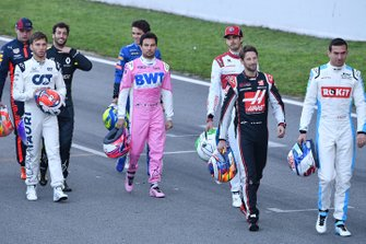 Pierre Gasly, AlphaTauri, Sergio Perez, Racing Point, Antonio Giovinazzi, Alfa Romeo, Romain Grosjean, Haas F1 und Nicholas Latifi, Williams Racing