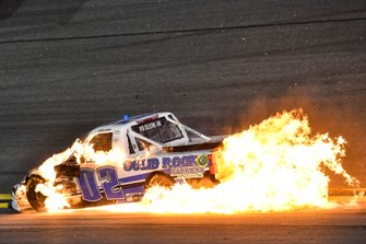 Tate Fogleman, Young's Motorsports, Chevrolet Silverado Solid Rock Carriers, crashes and catches fire in turn 4