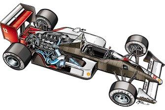 L'illustrazione a colori di Giorgio Piola della McLaren MP4/4