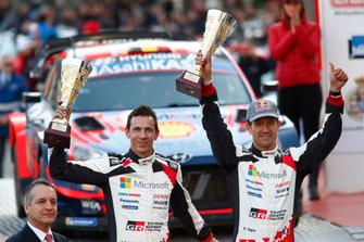 Podio: secondo classificato Sébastien Ogier, Julien Ingrassia, Toyota Gazoo Racing WRT Toyota Yaris WRC