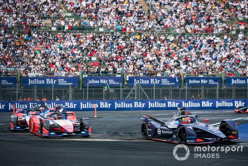 Robin Frijns, Virgin Racing, Audi e-tron FE06 Pascal Wehrlein, Mahindra Racing, M6Electro, Jérôme d'Ambrosio, Mahindra Racing, M6Electro