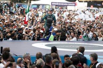 Race winner Mitch Evans, Jaguar Racing celebrates on the podium