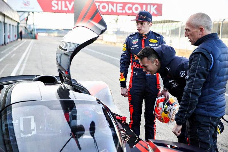 Max Verstappen, Red Bull Racing and Alexander Albon, Red Bull Racing driving the Red Bull Racing Aston Martin Valkyrie with Aston Martin test driver Chris Goodwin