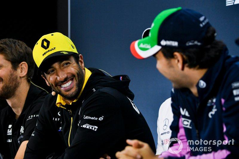 Daniel Ricciardo, Renault F1 Team and Sergio Perez, Racing Point In the Press Conference