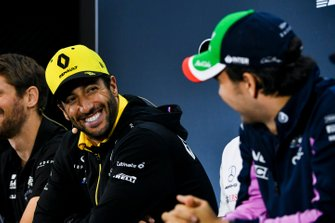 Daniel Ricciardo, Renault F1 Team and Sergio Perez, Racing Point In the Press Conference
