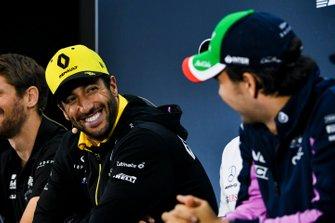 Daniel Ricciardo, Renault F1 Team et Sergio Perez, Racing Point, en conférence de presse